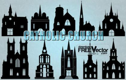 Silhouette of Catholic Church Vector Illustration