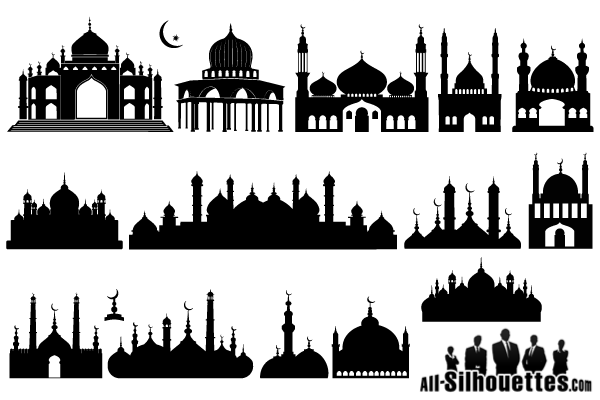 Islamic Mosque Silhouette Vector Illustration