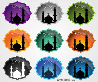 Mosque Icons Free Vector Set