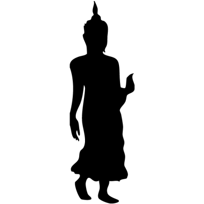 Walking Buddha Silhouette Vector Image