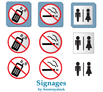 Prohibited Signs Vector: No Smoking and No Mobile Phones Sign Clipart