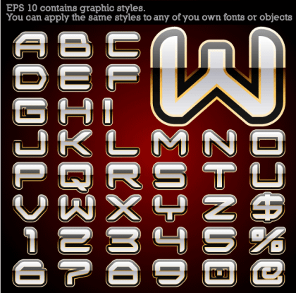 Free Alphabet Vector with Graphic Styles
