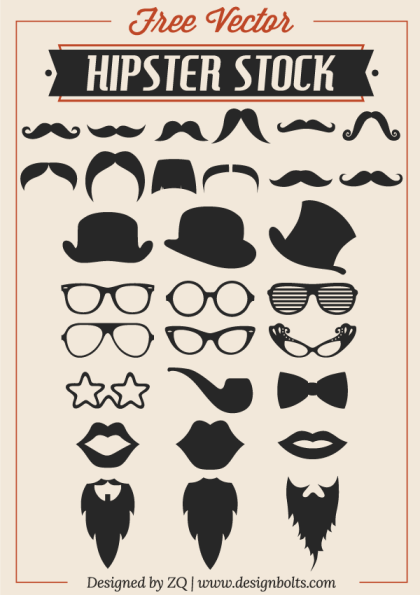 Free Vector Hipster Stock – Mustache, Beard & RayBan Glasses