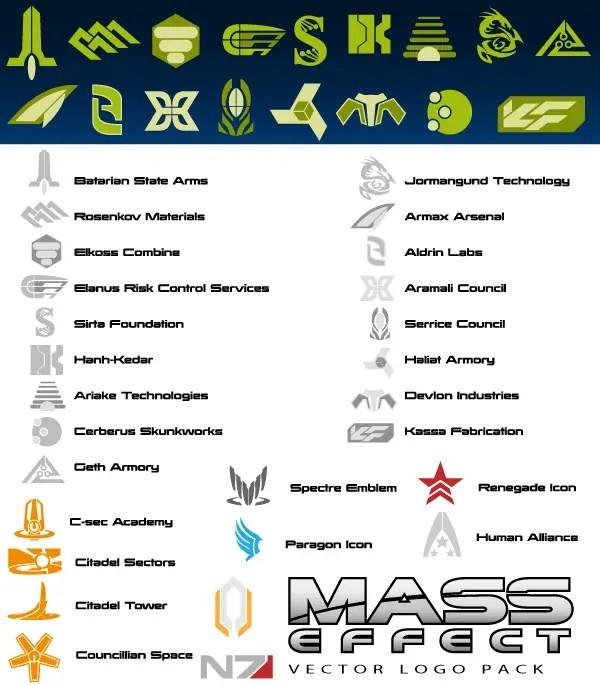 Mass Effect Logo Free Vector Pack