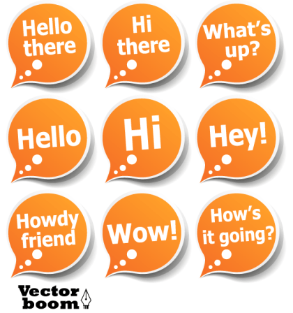 Vector Pack – Speech Bubble Stickers with Greeting Messages