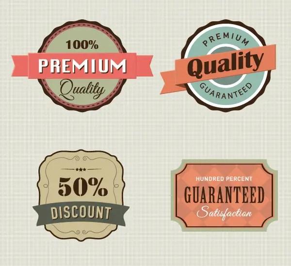 Vintage Premium Quality Labels Vector Graphic