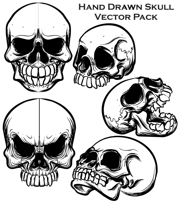 Hand Drawn Skull Free Vector Pack