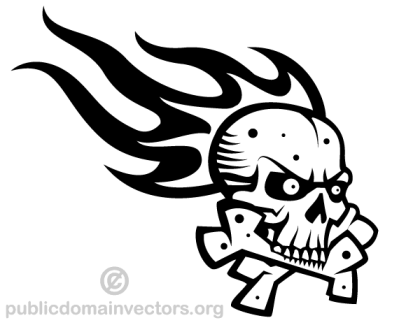 Skull with Flame Vector Graphics