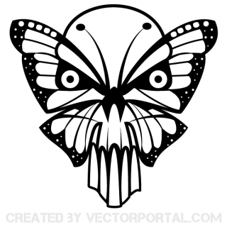 Butterfly Skull Vector Art