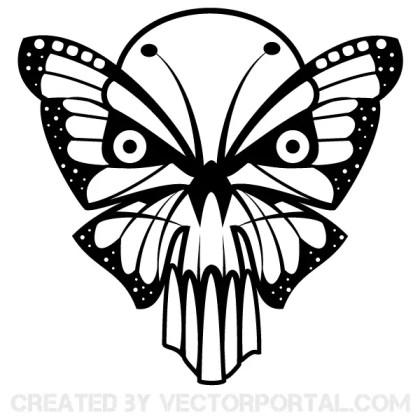 Butterfly Skull Vector Art