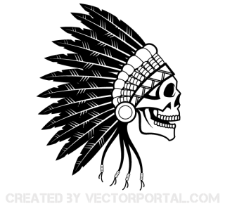 Indian Chief Skull Vector Art