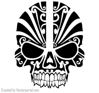 Tribal Skull Tattoo Design Vector