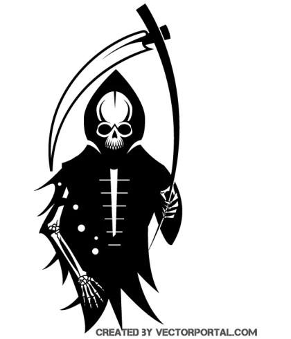Death Skeleton with Scythe Vector Clipart