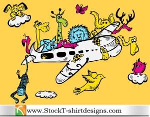 Cartoon Animals Riding Airplane with Free Vector Art T-shirt Design