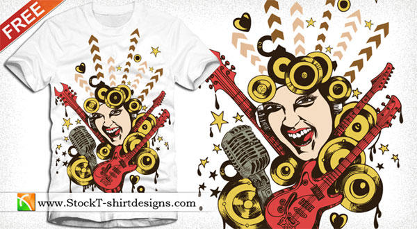 Free Vector T-shirt Design with Singing Girl, Guitar and Microphone
