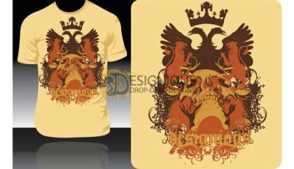 Free Vector T-shirt Design with Griffin, Crown, and Skull