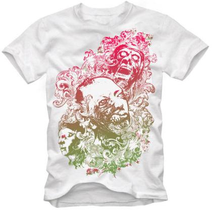 T-Shirt Design Vector – Floral Zombie Nightmare
