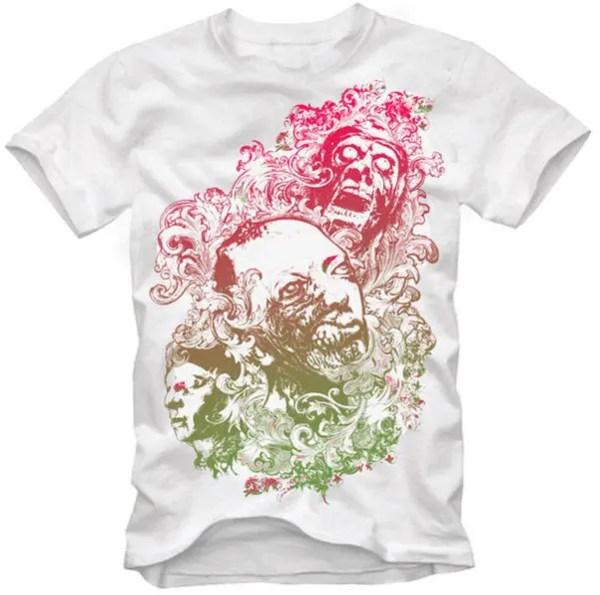 T-Shirt Design Vector – Floral Zombie Nightmare