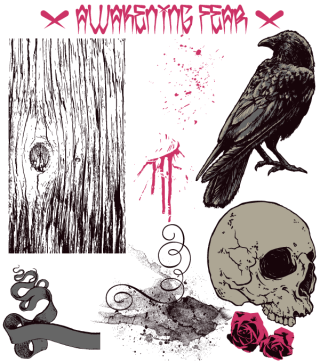 Free T-Shirt Design with Skull, Scroll, Splatter, Crow, Rose and Wood Texture