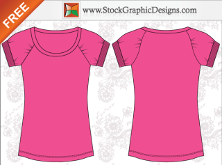 Women's Basic Free T-shirt Templates Vector