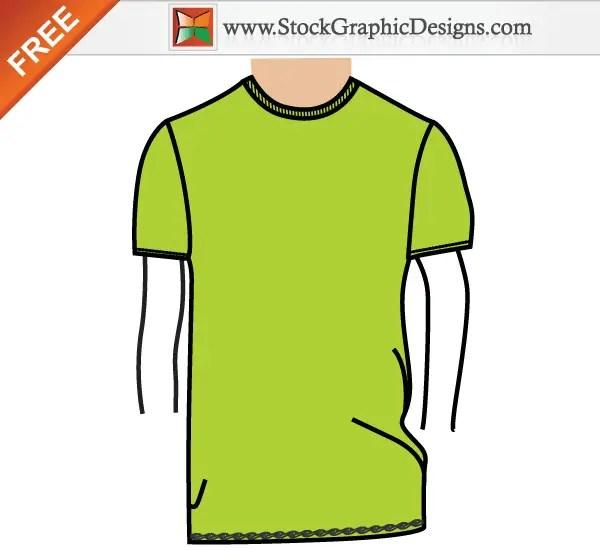 Men's Basic T-shirt Template Free Vector Illustration