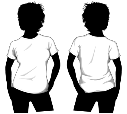 Vector Girls T-shirt Template Front and Back
