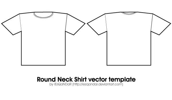 Vector Round Neck Shirt Template