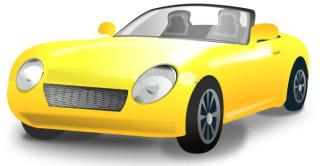 Yellow Convertible Sports Car