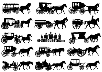 Vector Horse-Drawn Carriage Silhouettes