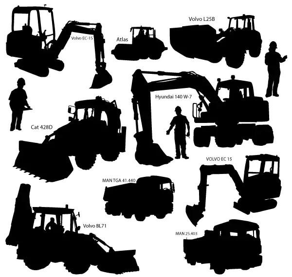 Heavy Duty Construction Equipment Vector Silhouettes