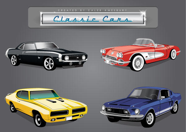 Car Vector Pack of Classic American Cars