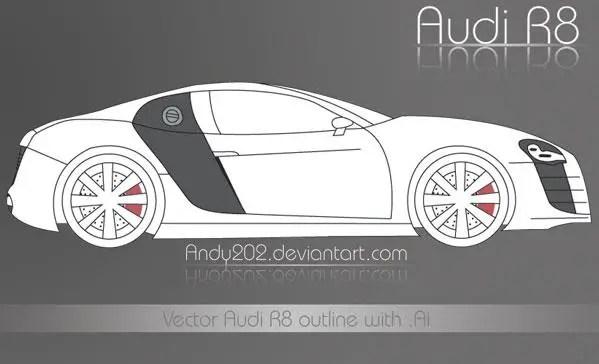 Audi R8 Outline Vector Art