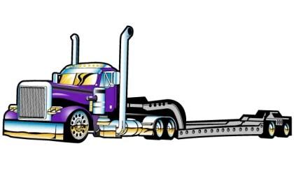 Flatbed Semi Truck Vector Free