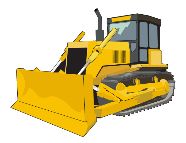 free bulldozer vector clip art 123freevectors rh 123freevectors com animated bulldozer clipart bulldozer clipart outline