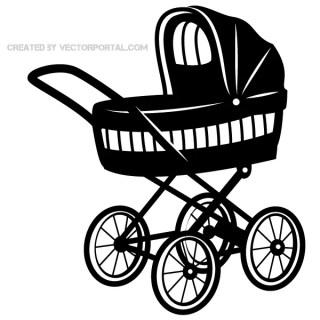 Baby Stroller Vector Art