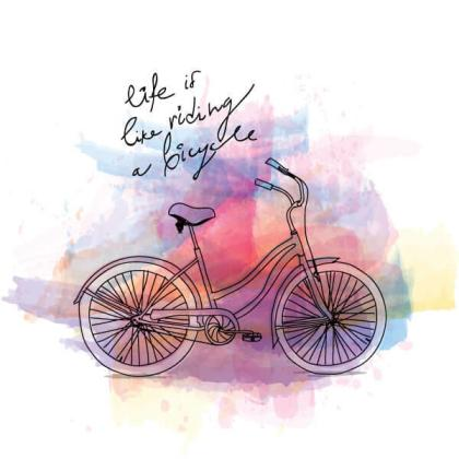 Doodle Bicycle on Watercolor Background Vector