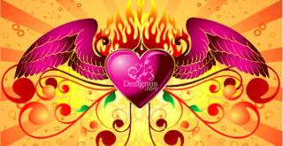 Free Winged Heart Vector Illustration