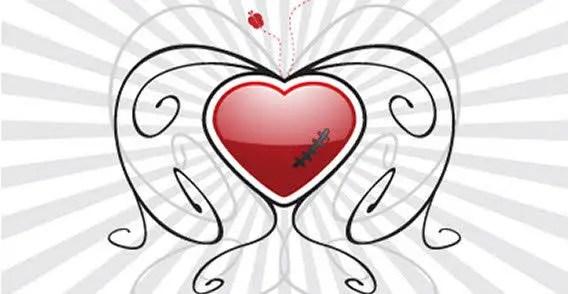 Red Valentine's Heart with Floral Sunburst Background