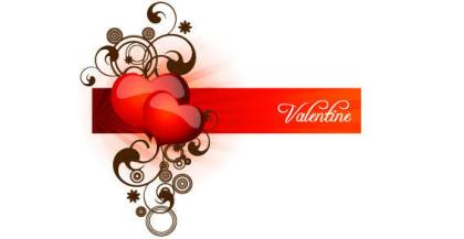 Valentine Red Heart with Floral Banner