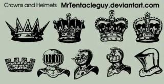 Medieval Knight Helmet & Crowns Vector Free