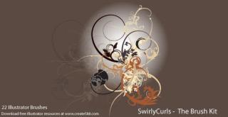 Free Illustrator Swirly Curls Brush Kit
