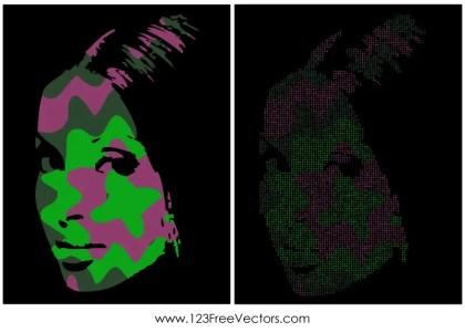 Pop Art Girl Face Vector