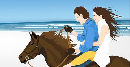 Young Couple Riding on a Horse Vector Image