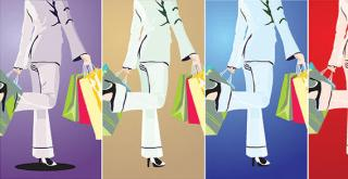 Fashion Shopping Girl Vector Graphic