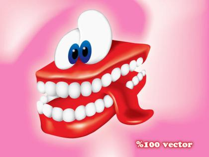 Smiling Cartoon Teeth Free Vector