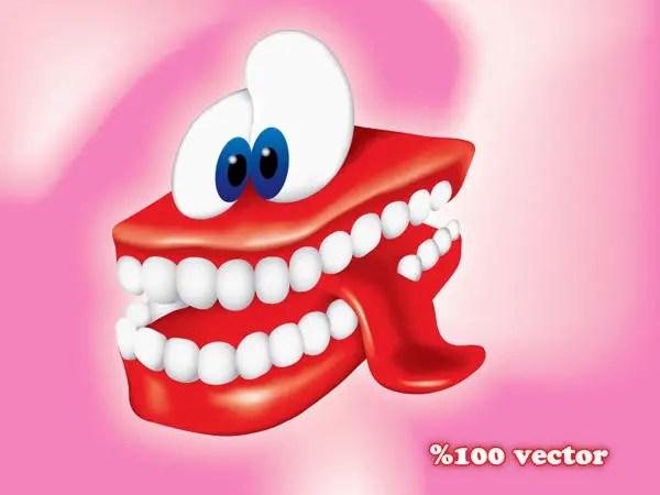 Smiling Cartoon Teeth Free Vector