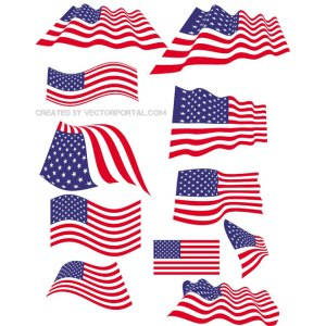 American Flag Set Free Vector