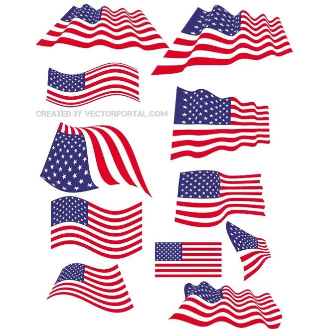 American Flag Set Free Vector