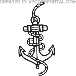 Anchor and Rope Graphics Free Vector