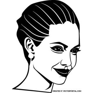 Angelina Jolie Portrait Free Vector
